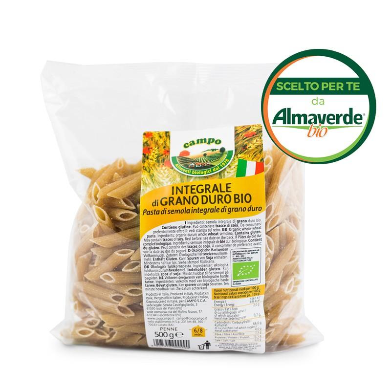 PENNE RIGATE di SEMOLA INTEGRALE di grano duro 500g | Almaverde Bio Shop Online