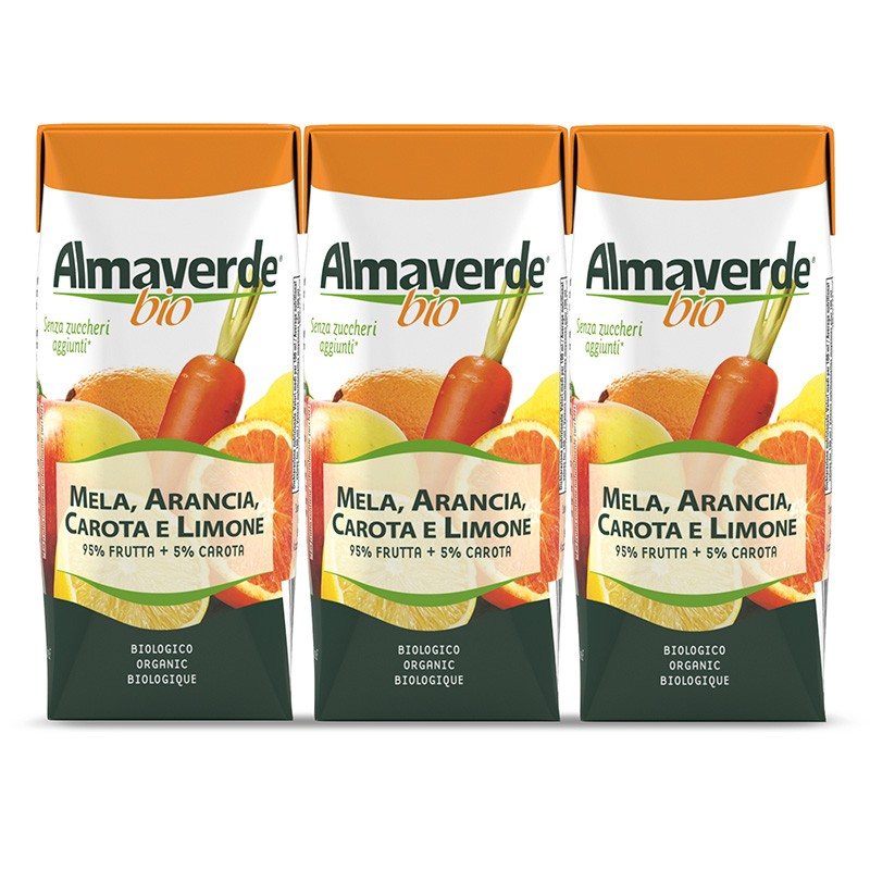 Succhi di frutta bio Mela Arancia, Carota e Limone 3x200ml   Almaverde Bio Negozio Online